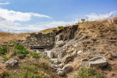 Archaeological excavations of an ancient structure. Chersonese Taurian, Crimea, Sevastopol
