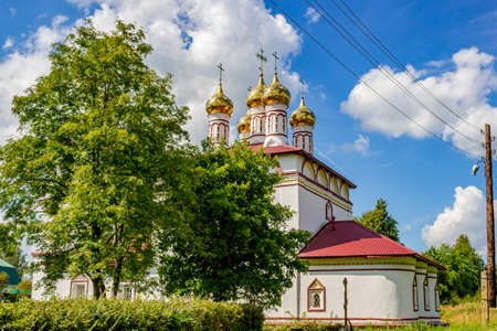 Ancient Church of the Resurrection of Christ in 1674 in the village of Trubino. Kaluzhskiy region, Zhukovsky district. August 2018