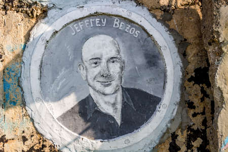 "Borovsk, Russia - September 2018: Street Art-object ""The Ark"" with images of famous figures of science and astronautics. Portrait of Jeff Bezos"