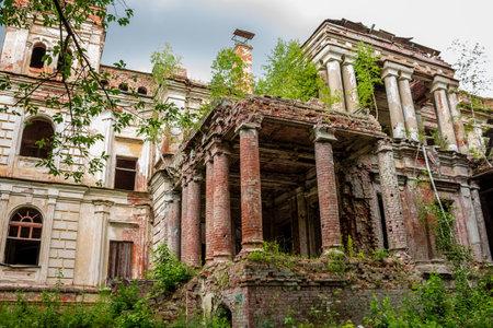 Colonnade of the southern facade of the Yaroshenko Palace at the end of the 19th century in the estate Stepanovskoe-Pavlishchevo. Sanatorium Pavlishchev-Bor, Kaluzhskiy region, Russia