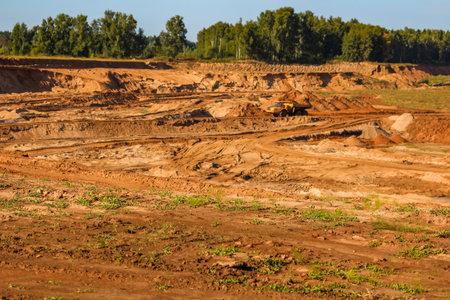 Sand quarry and mining, sandy landscape