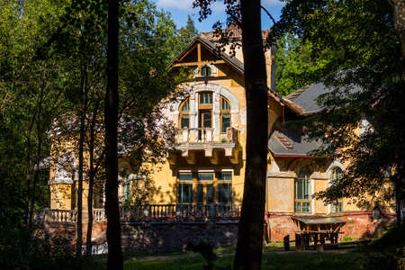 Facade of Turliki manor on a sunny day. Art Nouveau architectural style, built in 1899. Obninsk, Russia - August 2020