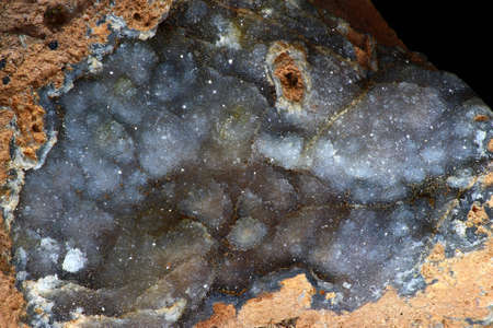 Fine crystalline quartz brush on chalcedony close up Stock Photo