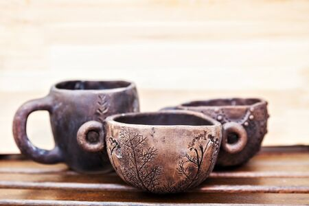 natural materials: Handmade ceramic cups. Pottery from natural materials