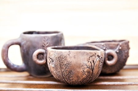 natural materials: Pottery from natural materials. Handmade ceramic cups.