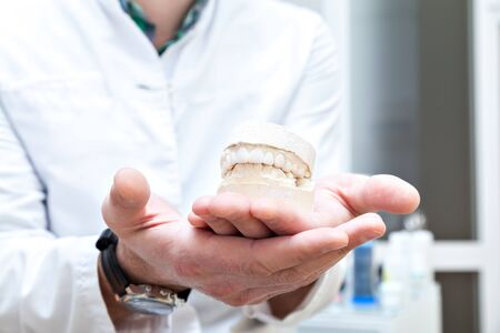 denture in the hands of the doctor. Dental equipment and tools. dental clinic