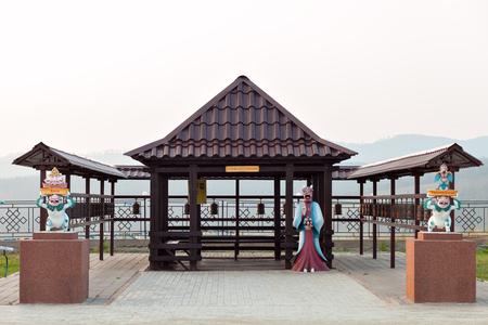 buryatia: Attractions on site for a Buddhist temple. Datsan Rinpoche Bagsha on Bald Mountain in Ulan-Ude, Buryatia, Russia.