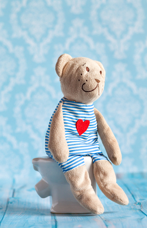 childrens soft toy teddy bear toy sitting on the toilet in the doll house. Blue bathroom to bear. Playing with dolls in the family. Digestive problems, food poisoning. Stock Photo