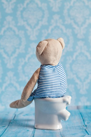 poisoning: childrens soft toy teddy bear toy sitting on the toilet in the doll house. Blue bathroom to bear. Playing with dolls in the family. Digestive problems, food poisoning. Stock Photo