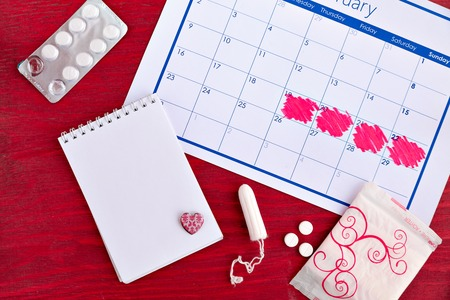 The calendar for the menstruation counting