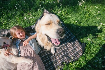 selective focus beautiful girl hugs two golden retriever and smiling sitting on a meadow Standard-Bild - 132304472