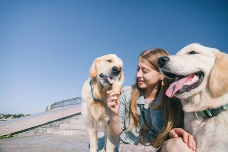 A young girl feeds her dogs ice cream in a park on a hot summer day. Standard-Bild - 132304564