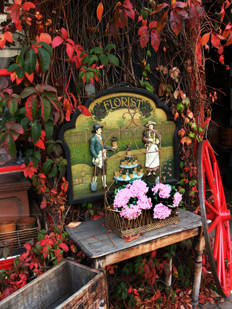 Front of florist shop in Autumn