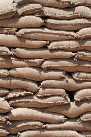 sackful: Barricade of heavy sandbags at the military training center