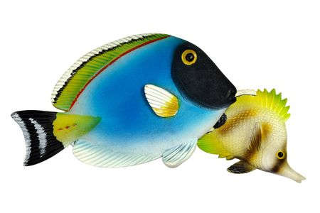 Coral fishes. Ceramic souvenirs from tropical resort photo