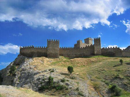 sudak: Old Castle of  Sudak. Medieval castle Sudak, Crimea, Ukraine Stock Photo