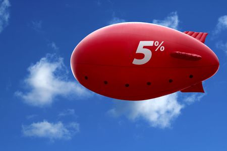 Red dirigible in blue sky. Promo action by red air ship photo
