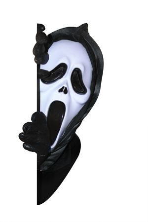 Mask of grim reaper. Carnival white ghost mask and black hood. Isolated on white photo