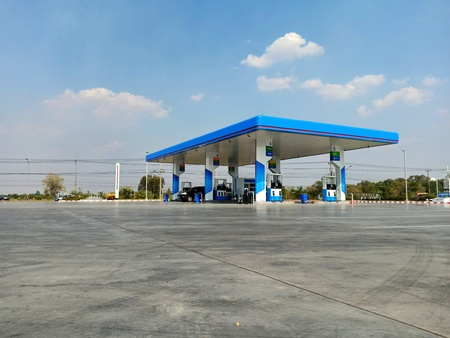 Surin, Thailand-March 8, 2019 : PTT Gas Station Which is the most famous oil company in Thailand