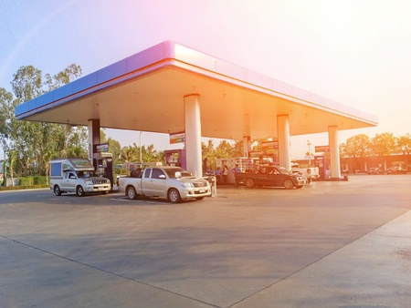 Roi Et, Thailand-April 9, 2019 : PTT Gas Station Which is the most famous oil company in Thailand Editorial