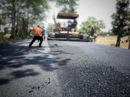 Asphalt road construction in Thailand, blurred images