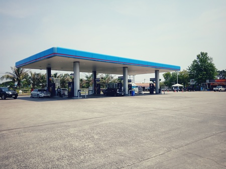 Surin, Thailand-May 3, 2019 : PTT Gas Station Which is the most