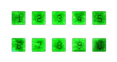 Green background dotted numbers from 1-0 写真素材