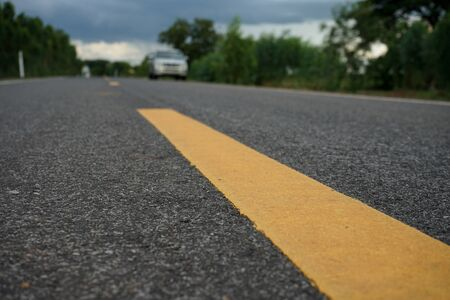 Road traffic paint on the asphalt surface And to ensure safety 스톡 콘텐츠