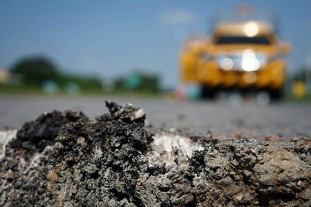 Excavation for road surface Damaged road Banque d'images - 132657244
