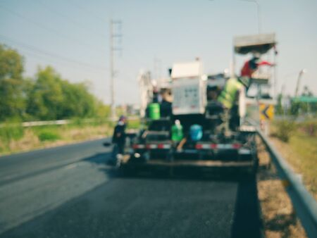 Road construction Using heavy equipment, blurred images