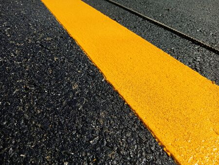 The yellow traffic line during construction is completed Reklamní fotografie