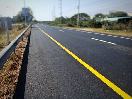 The yellow traffic line during construction is completed