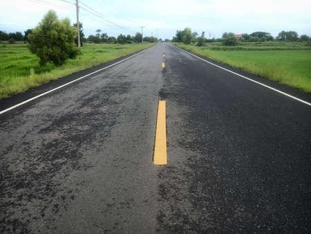 Rural asphalt roads in Thailand 版權商用圖片