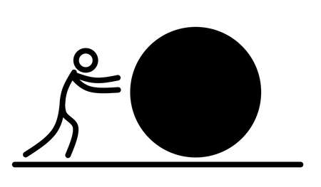 Push icon And fighting obstacles in work
