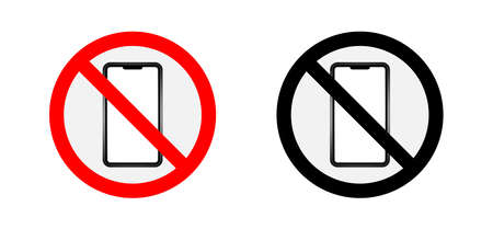 Warning sign forbidden to use smartphone