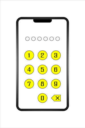 Mobile phone screen Numbers enter password for security 免版税图像
