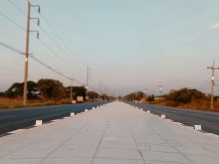 Road island, concrete floor In perspective