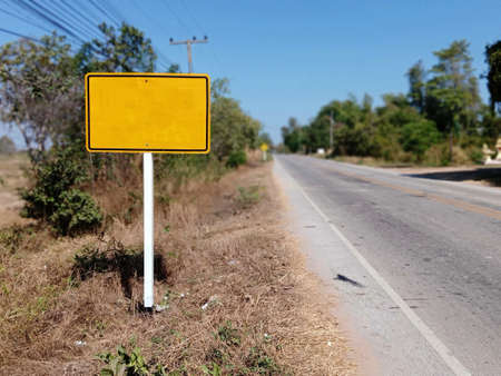 Warning sign for road construction ahead For safety