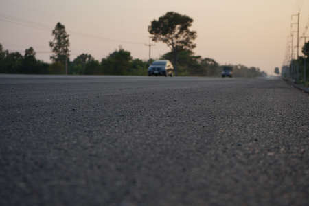 The blur of the asphalt road No traffic lines