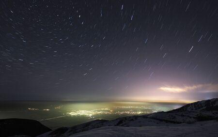 nuit hiver: Ciel nocturne en mouvement Banque d'images