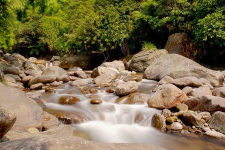 a cascade on rock falling into river photo