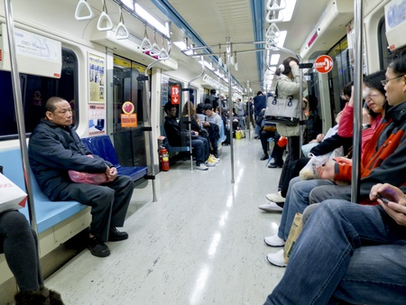 Taipei-February 6:people stand inside metro carriage in taipei on February 6,2011 in Taiwan