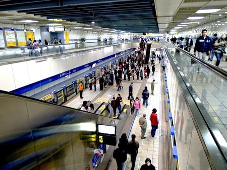 Taipei-February 6:a view over taipei metro system hall on February 6,2011 in Taiwan