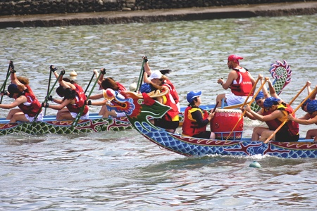 dragonboat: Taipei-June 5-Dragon boat Festival on June 5,2011 in Taiwan Editorial