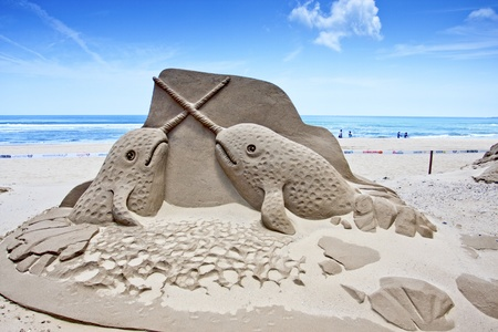 Fulong,Taiwan-May31:a whale sand sculpture at Fulong beach for celebrating the Sand Sculpture Festival on May 31,2011 in Fulong,Taiwan