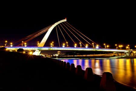 TaChih Bridge across river shinning at night in Taipei photo