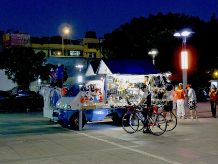car vendor with many goods for shopping