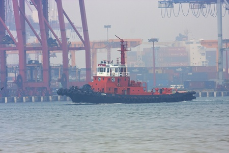 New Taipei City,Taiwan-September 29:a Taiwan work ship at Keelung port working for clean the ocean on September 29,2011 in Keelung,Taiwan Stock Photo - 10739045