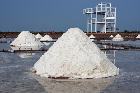 beautiful landscape of a summer with a salt farm in Tainan photo