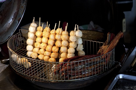 focus on delicious taiwanese snack prepare for fried cook photo